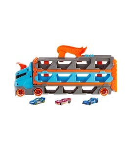 "Camion 2 in 1 trasportatore e pista con 3 macchinine ""Hot Wheels"" multicolor"
